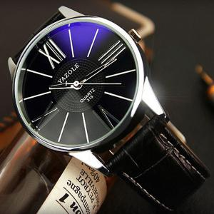 Yazole 315 Quartz Watch with Leather Band for Men -