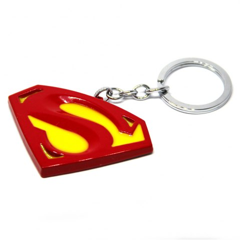 Affordable Portable Superman Sign Metal Bulk Key Chain Cool Props - YELLOW AND RED  Mobile
