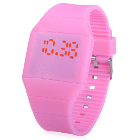 Outfit Rubber Touch Screen Sport Watches with Red Display Time Rectangle Shape
