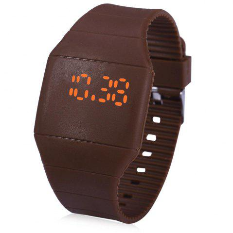 Fashion Rubber Touch Screen Sport Watches with Red Display Time Rectangle Shape