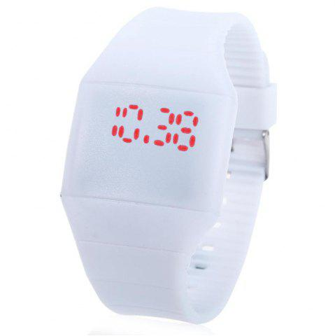 Unique Rubber Touch Screen Sport Watches with Red Display Time Rectangle Shape