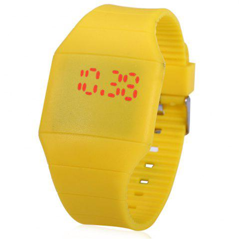 Latest Rubber Touch Screen Sport Watches with Red Display Time Rectangle Shape