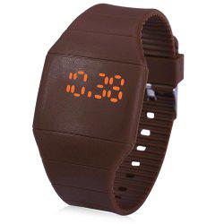 Rubber Touch Screen Sport Watches with Red Display Time Rectangle Shape -