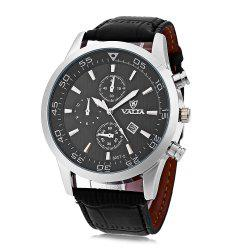 Valia 8257-2 Men Quartz Watch Date Decorative Sub-dials Round Dial Leather Band - BLACK