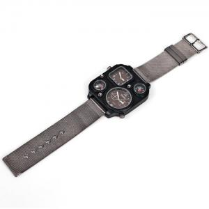 Oulm 1169 Quartz Watch with Double Movt Steel Watchband for Men -
