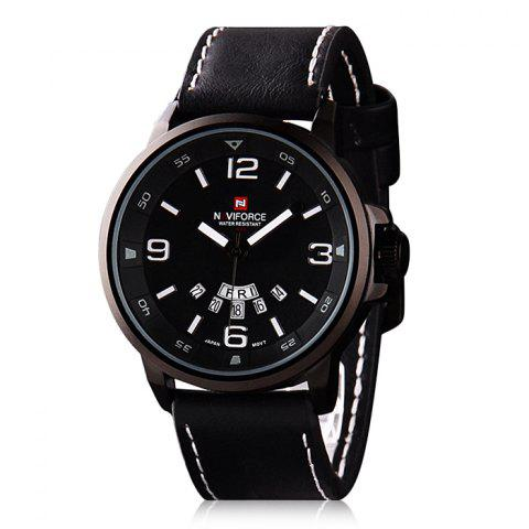 Trendy Naviforce 9028 Military Leather Band Quartz Analog Watch Japan Movt Day Date Water Resistant for Men
