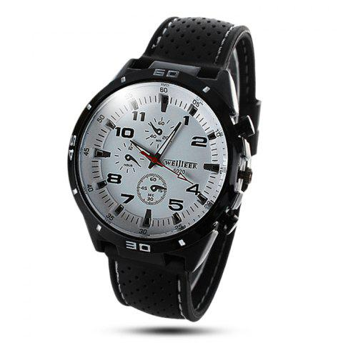 Sale Weijieer 5020 Male Quartz Watch Round Dial Rubber Strap Non-functioning Sub-dials WHITE