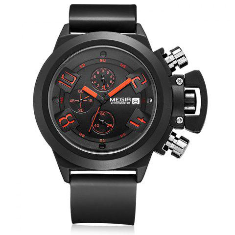Outfits MEGIR 2002 Male Quartz Watch Date Display Silicone Band 30M Water Resistance BLACK