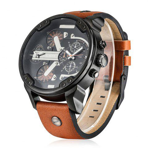 Chic Cagarny 6820 Date Function Male Quartz Watch Double Movt Wristwatch with Decorative Sub-dials Leather Strap