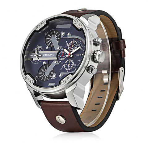 Sale Cagarny 6820 Date Function Male Quartz Watch Double Movt Wristwatch with Decorative Sub-dials Leather Strap