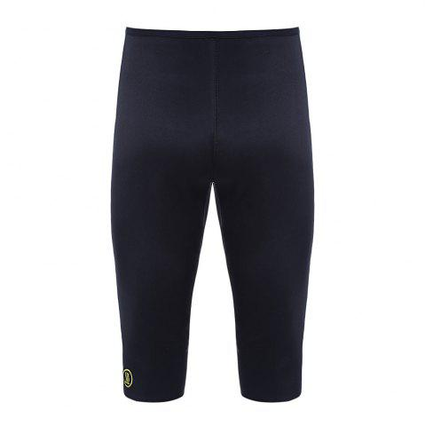Discount Women Elastic High Waisted Yoga Cropped Pants Polyester Made - 2XL BLACK Mobile