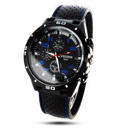 Weijieer 5020 Male Quartz Watch Round Dial Rubber Strap Non-functioning Sub-dials - BLUE