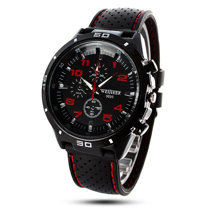 Weijieer 5020 Male Quartz Watch Round Dial Rubber Strap Non-functioning Sub-dialsJEWELRY<br><br>Color: RED; Brand: Weijieer; Watches categories: Male table; Watch style: Fashion; Available Color: Red,White,Yellow;