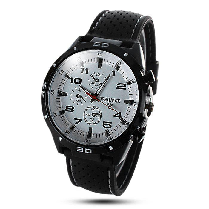 Weijieer 5020 Male Quartz Watch Round Dial Rubber Strap Non-functioning Sub-dialsJEWELRY<br><br>Color: WHITE; Brand: Weijieer; Watches categories: Male table; Watch style: Fashion; Available Color: Red,White,Yellow;