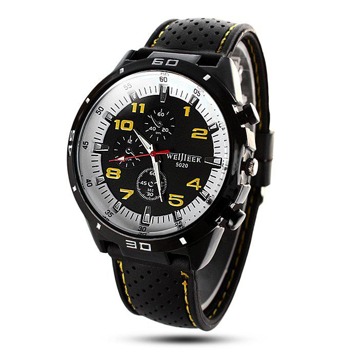 Weijieer 5020 Male Quartz Watch Round Dial Rubber Strap Non-functioning Sub-dialsJEWELRY<br><br>Color: YELLOW; Brand: Weijieer; Watches categories: Male table; Watch style: Fashion; Available Color: Red,White,Yellow;
