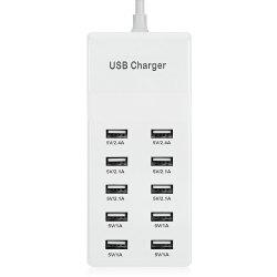 Ten USB Power Adapter Wall Charger Dock Station Fast Charging -