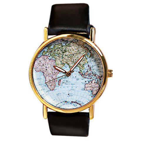 Map Patterned Watch with Round Dial and Leather Watch Band for Women - Black