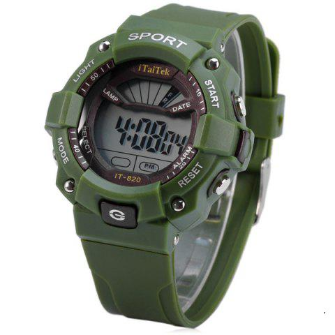 Fancy iTaiTek IT - 820 Sports LED Watch 50M Water Resistant Date Week Alarm Chronograph Wristwatch - GREEN  Mobile
