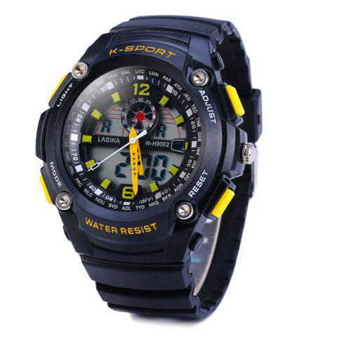 Buy Lasika 9002 Dual Movt Sports Military LED Watch Alarm Date Day Stopwatch Water Resistance - Yellow