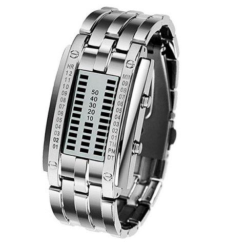Shop Waterproof Watch with Blue Light Time-Date Indicate Steel Watchband for Women SILVER
