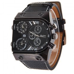 Oulm multifonctions 3-Movt montre-bracelet en cuir Quartz Hommes Sport Sports Watch -