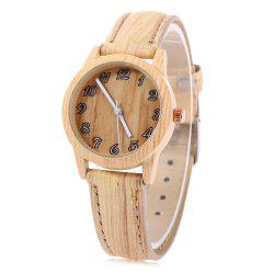 Geneva 150717-3 Wood-like Female Quartz Watch Leather Band Arabic Number Scales