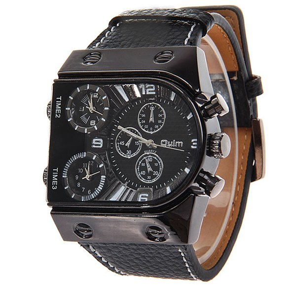 Oulm multifonctions 3-Movt montre-bracelet en cuir Quartz Hommes Sport Sports Watch