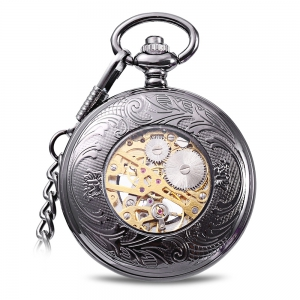 Round Shape Style Roman Numbers Indicate Vintage Mechanical Flip Pocket Watch -