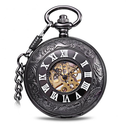 Hot Round Shape Style Roman Numbers Indicate Vintage Mechanical Flip Pocket Watch