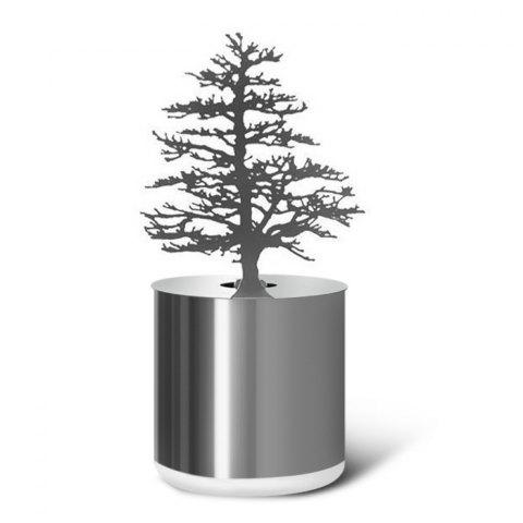 Fashion Creative Pine Shadow Projection LED Lamp Romantic Atmosphere Candle Decor Light SILVER PINE