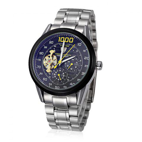 Affordable Tevise 8378 Men Analog Tourbillon Automatic Mechanical Watch Working Sub-dials Stainless Steel Body