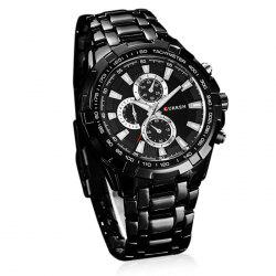 Trendy CURREN Round Dial Stainless Steel Quartz Wrist Men's Watch - BLACK