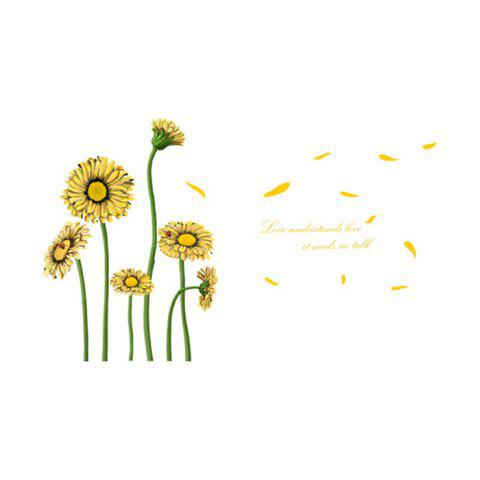 Trendy Beautiful Sunflower Style Removable Wall Stickers Colorful Room Window Decoration YELLOW