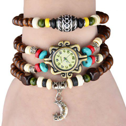 Buy Quartz Wrist Watch Beads Chain Round Dial Arabic Numerals Display for Women BROWN