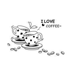 I Love Coffee Style Wall Sticker Home Appliances Decor Wall Decals