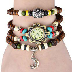 Quartz Wrist Watch Beads Chain Round Dial Arabic Numerals Display for Women