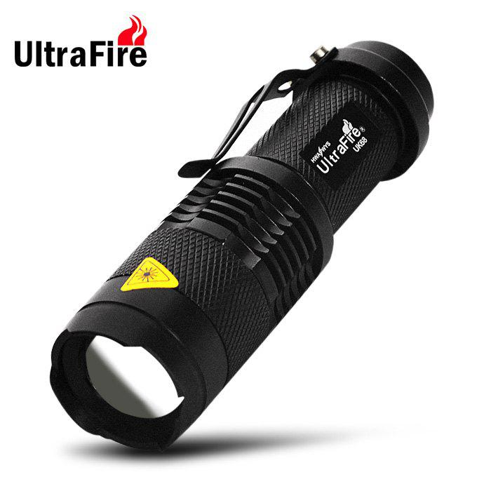 Ultrafire UK - 68 Cree Q5 300Lm 3 Modes Waterproof LED Flashlight Torch with Adjustable FocusHOME<br><br>Color: WHITE; Brand: Ultrafire; Model: UK-68; Emitters: Cree Q5; Emitters Quantity: 1; Lumens Range: 200-500Lumens; Luminous Flux: 300LM; Power: 7W; Circuitry: 800mA; Feature: Pocket Clip; Function: Camping,EDC,Hiking,Household Use,Night Riding,Walking; Switch Location: Tail Cap; Mode: 3(Low - High - Strobe); Power Source: Battery; Battery Type: 14500,AA; Battery Quantity: 1 x 14500 / AA battery (not included); Zooming Function: Yes; Waterproof Standard: IPX-4 Standard Water-resistant; LED Lifespan: 50000h;
