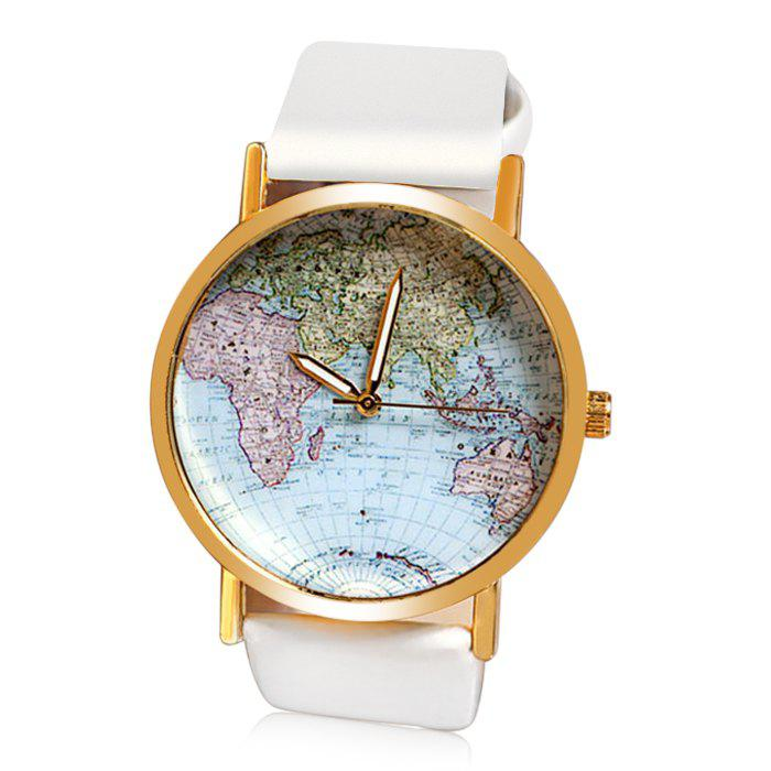 Map Patterned Watch with Round Dial and Leather Watch Band for WomenJEWELRY<br><br>Color: WHITE; Watches categories: Female table; Style: Fashion&amp;Casual;