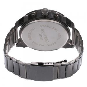 Shiweibao A3137 Double Movt Big Dial Date Function Quartz Watch Male Stainless Steel Band Wristwatch -