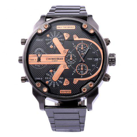 Sale Shiweibao A3137 Double Movt Big Dial Date Function Quartz Watch Male Stainless Steel Band Wristwatch