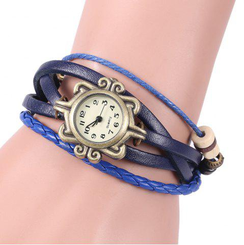 Best Retro Quartz Watch with Butterfly Round Dial and Knitting Leather Watch Band for Women