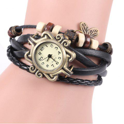 Hot Retro Quartz Watch with Butterfly Round Dial and Knitting Leather Watch Band for Women BLACK
