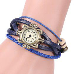 Retro Quartz Watch with Butterfly Round Dial and Knitting Leather Watch Band for Women - BLUE