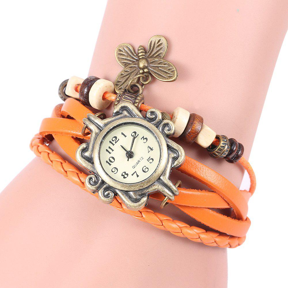 Shops Retro Quartz Watch with Butterfly Round Dial and Knitting Leather Watch Band for Women