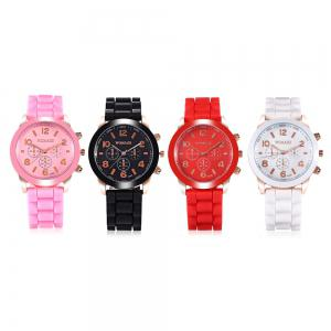 WoMaGe Quartz Watch 6 Numbers and Rectangles Indicate Rubber Watch Band for Women - Coffee -
