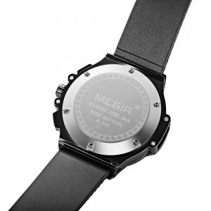 MEGIR 3002G Male Quartz Watch with Date Function Silicone Band Luminous Pointer 30M Water Resistance -