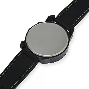 JIS Flash Light Men Quartz Watch with Leather Strap - BLACK