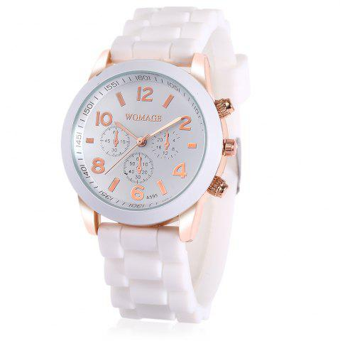 Shop WoMaGe Quartz Watch 6 Numbers and Rectangles Indicate Rubber Watch Band for Women - Coffee