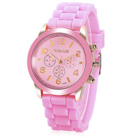 Discount WoMaGe Quartz Watch 6 Numbers and Rectangles Indicate Rubber Watch Band for Women - Coffee