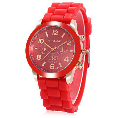 Online WoMaGe Quartz Watch 6 Numbers and Rectangles Indicate Rubber Watch Band for Women - Coffee